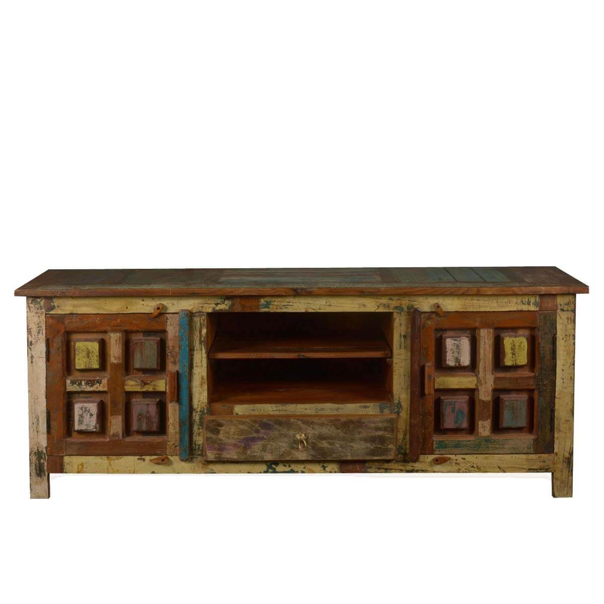 Solid Wood Handcrafted Rustic Tv Stand Media Console