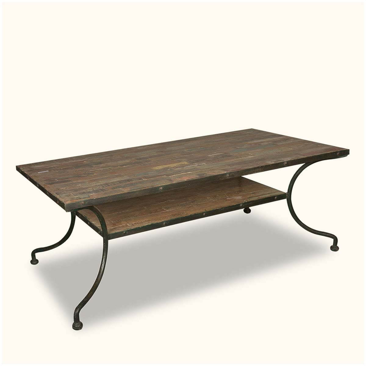 Reclaimed wood iron industrial 2 tier rustic coffee table for Reclaimed coffee table