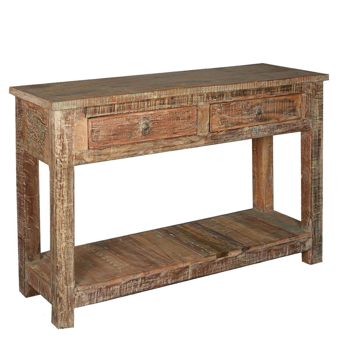 Rustic Wooden Foyer Bench : Rustic reclaimed wood naturally distressed hall console table