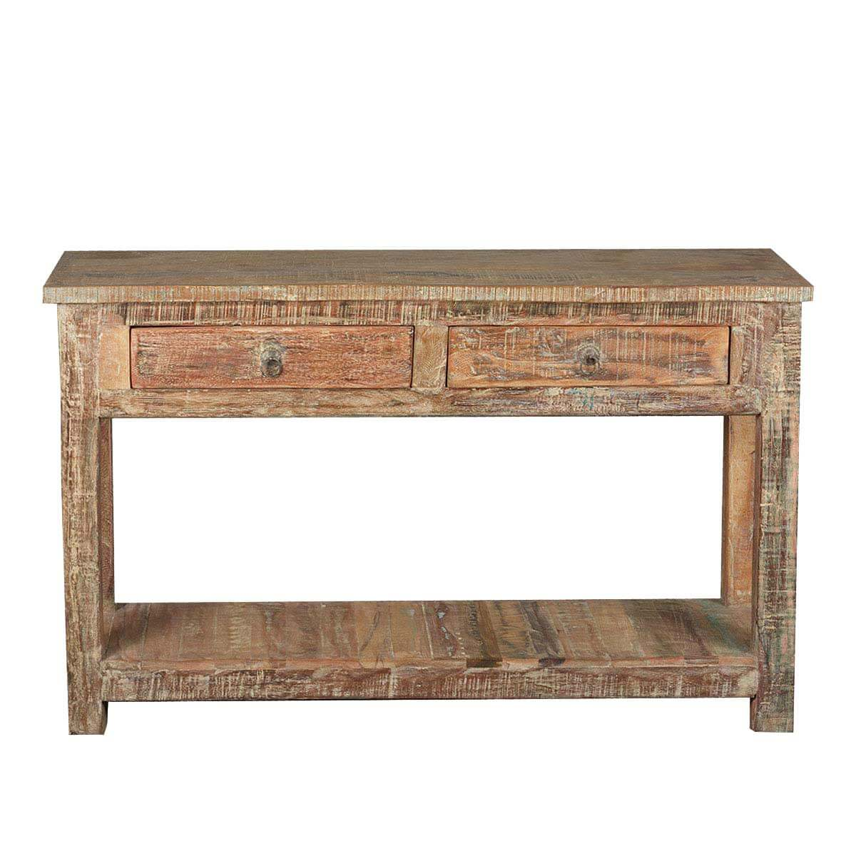 Rustic reclaimed wood naturally distressed hall console table for Hall console table