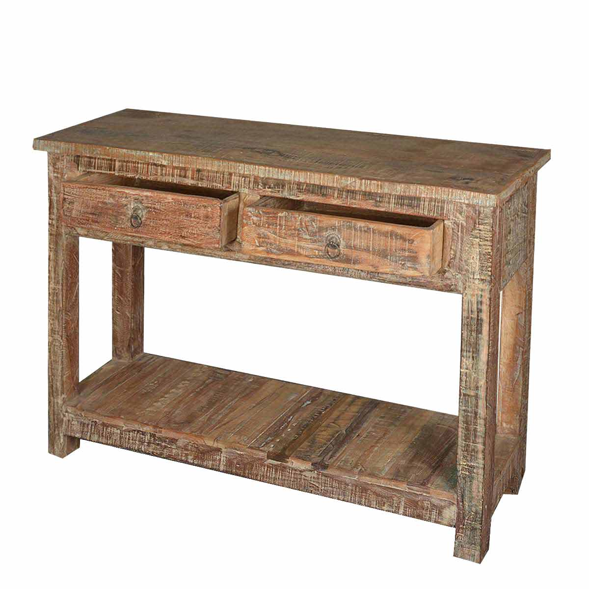 Console Table Woodworking ~ Rustic reclaimed wood naturally distressed hall console table