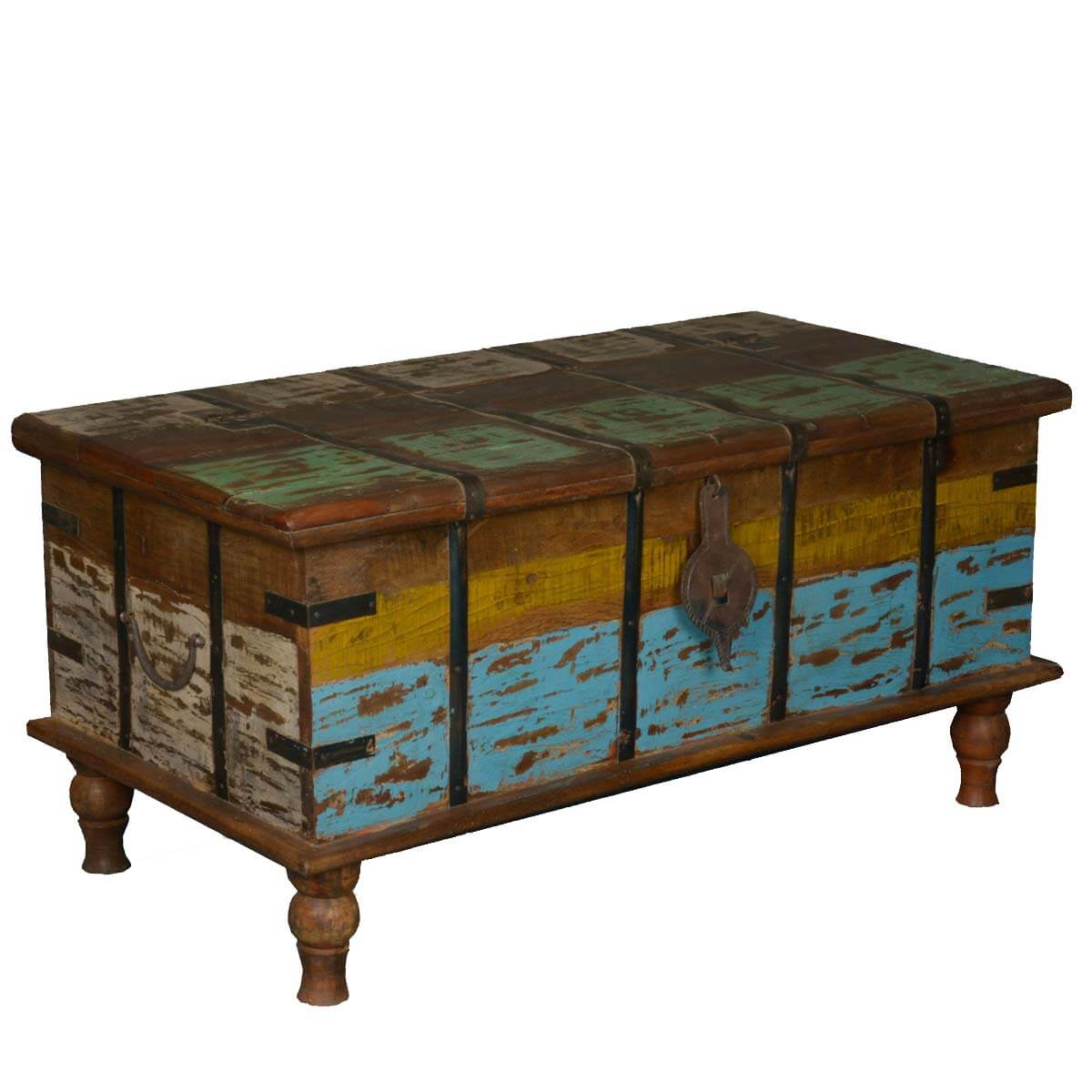 Home Rustic Reclaimed Wood Speckled Paint Standing Coffee Table Chest. Full resolution  file, nominally Width 1200 Height 1200 pixels, file with #63421F.
