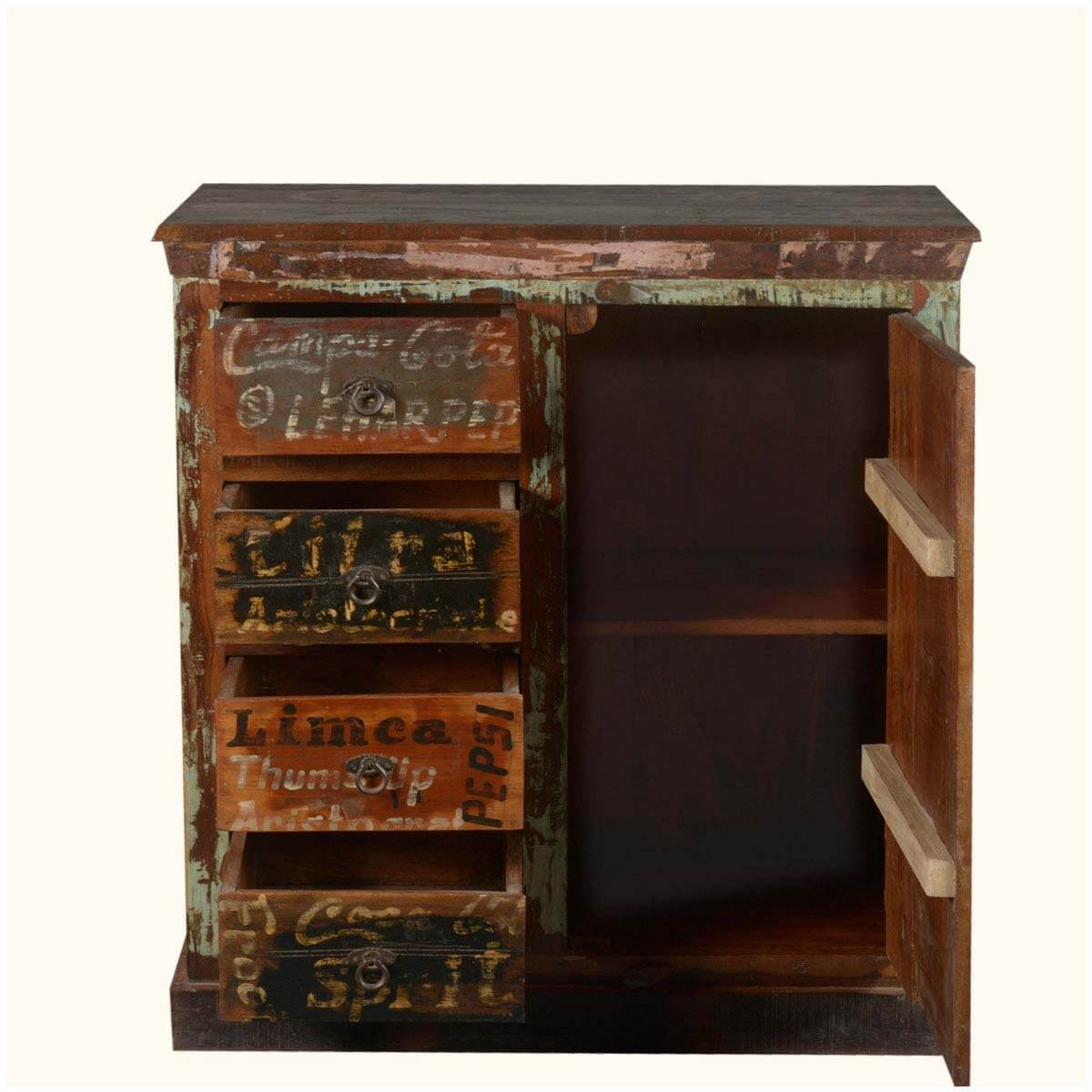 Entryway Cabinets: Nostalgic Market Labels Reclaimed Wood Storage Entryway