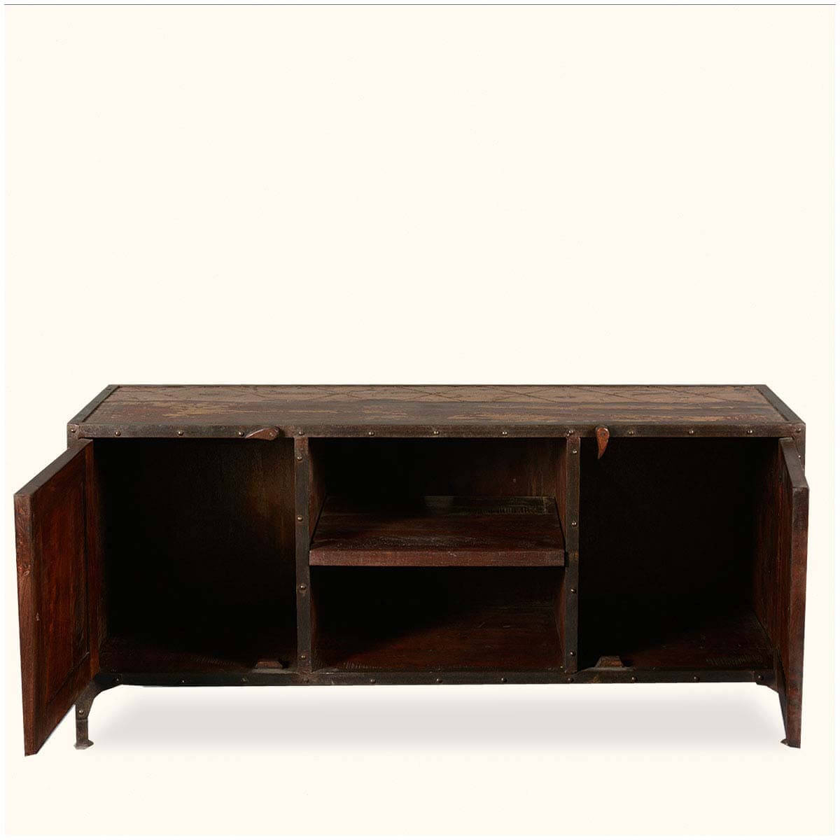 Rustic Industrial Reclaimed Wood Iron Tv Stand Media Console