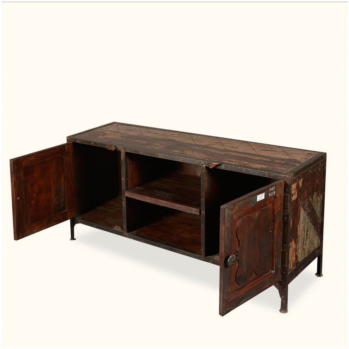 Rustic industrial reclaimed wood iron tv stand media console Rustic tv stands