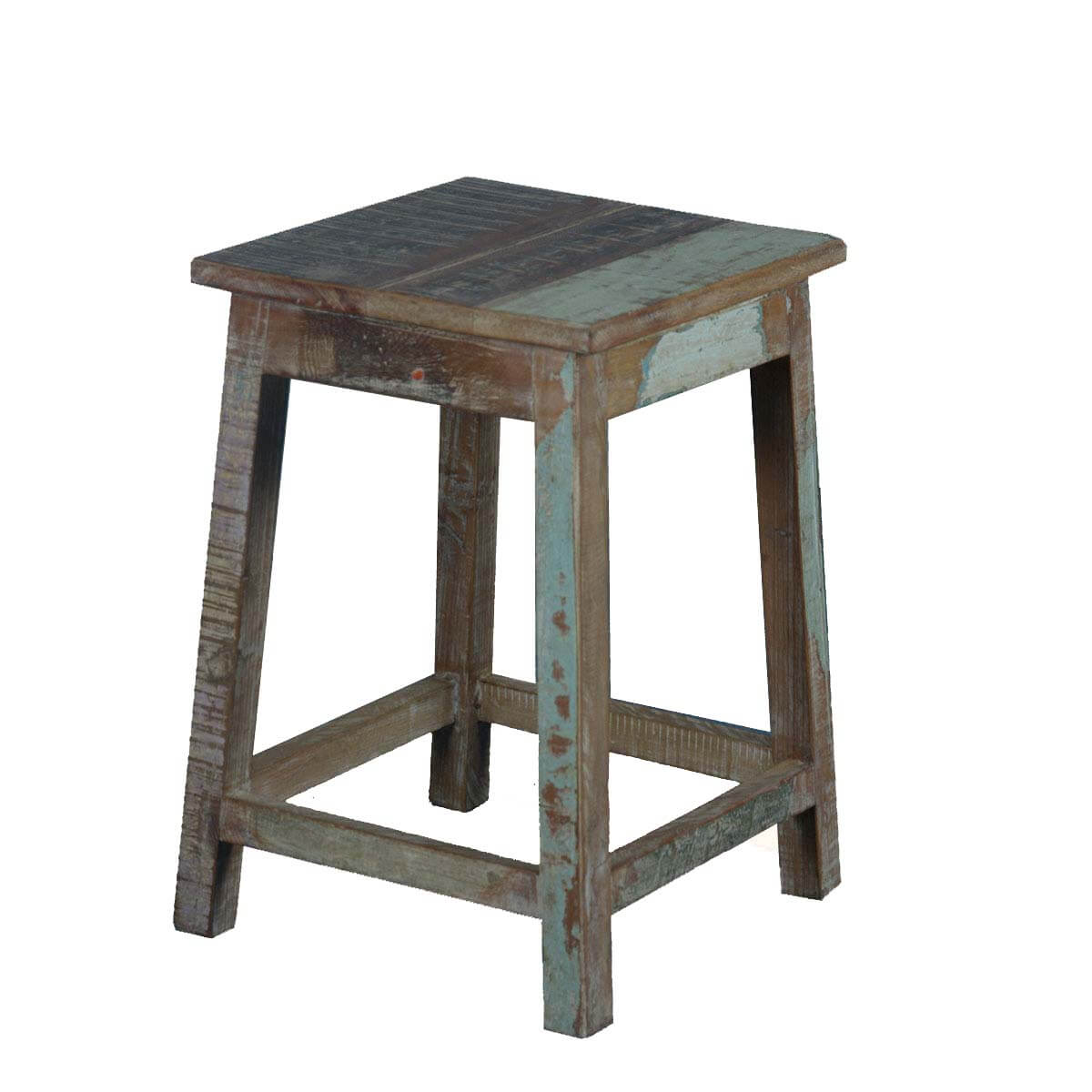 Square rustic reclaimed wood quot pedestal end table stool