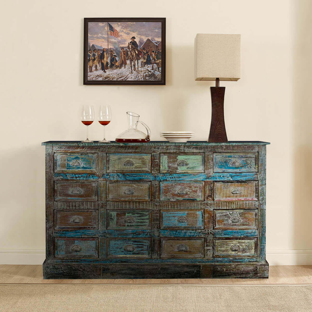 Reclaimed Wood 16 Drawer Apothecary Rustic Dresser Chest. Full resolution  portraiture, nominally Width 1200 Height 1200 pixels, portraiture with #9D812E.