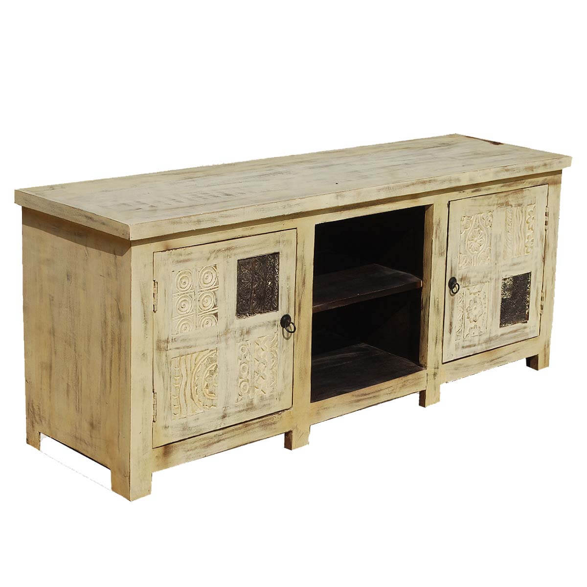 Rustic Tv Stand Media Console Vintage Style Black White