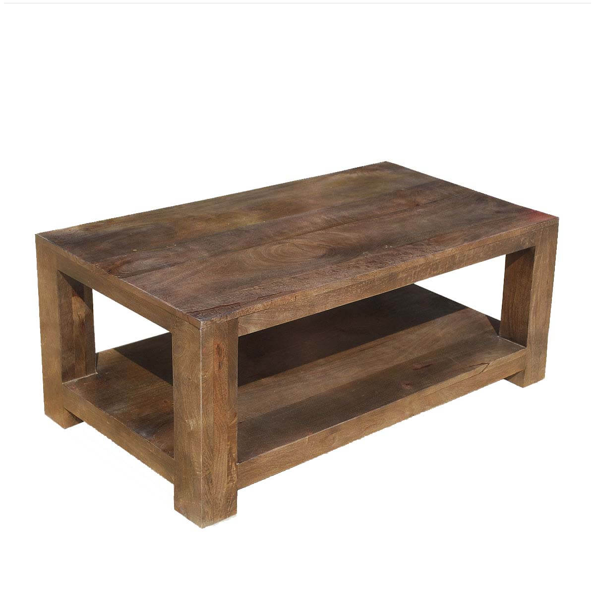 Contemporary mango wood 2 tier 43 coffee table for Modern wooden coffee tables