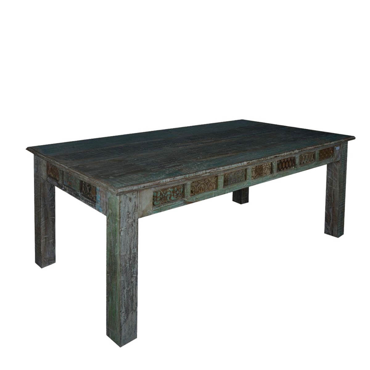 Midnight Shadow Mango Wood 70 5 Carved Tiles Dining Table