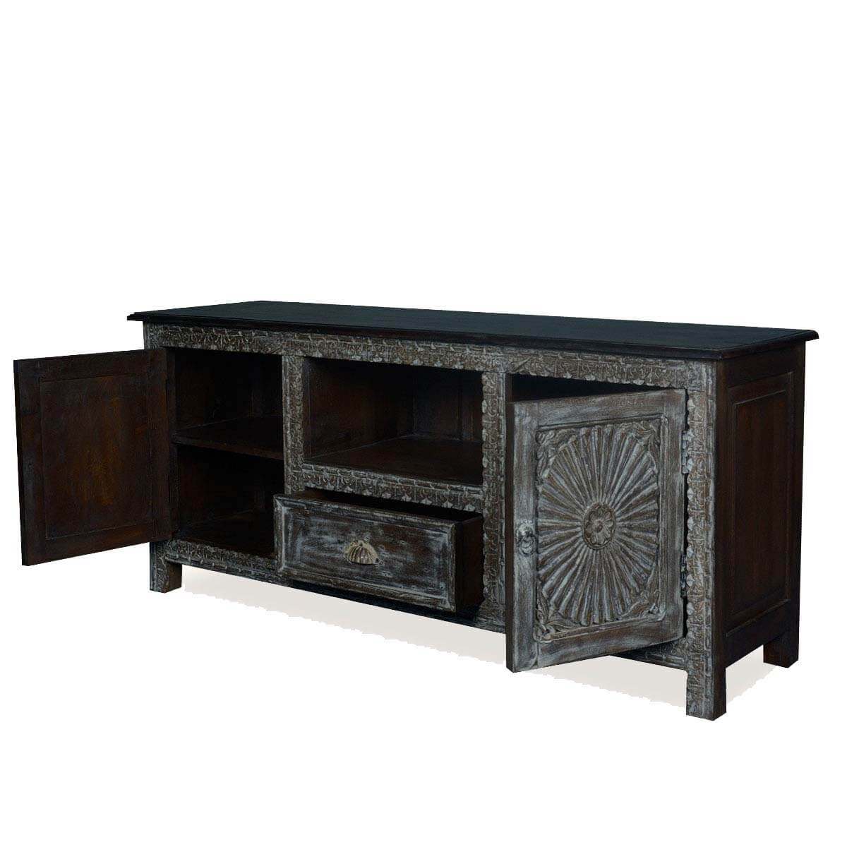 Ebony sunburst reclaimed wood 1 drawer tv stand media for Barnwood media cabinet