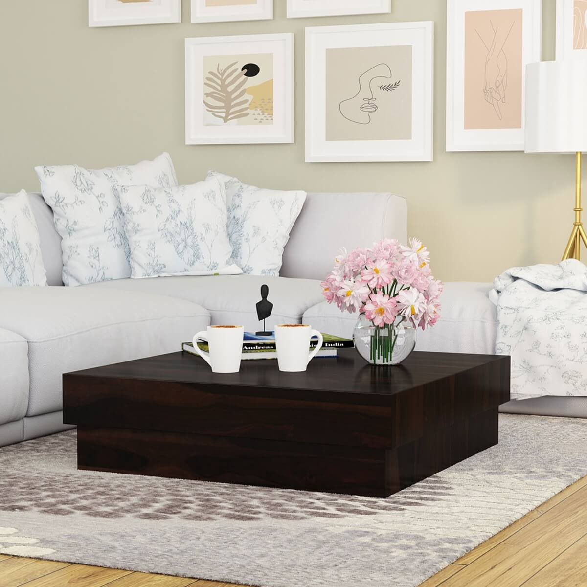 Solid Wood Square Contemporary Platform Unique Coffee Table