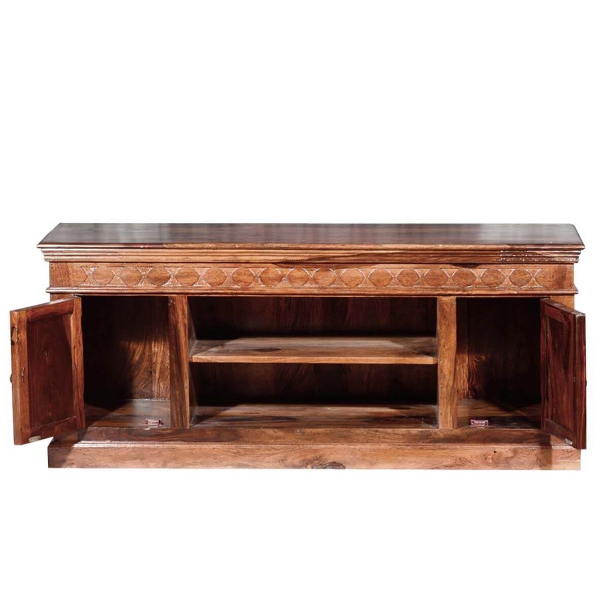 Rustic solid wood doors hand carved tv console