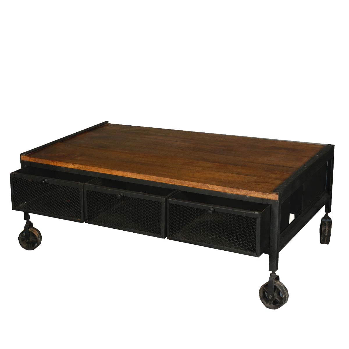 Rustic Coffee Table: Aiden Industrial Rustic Coffee Table With Drawers