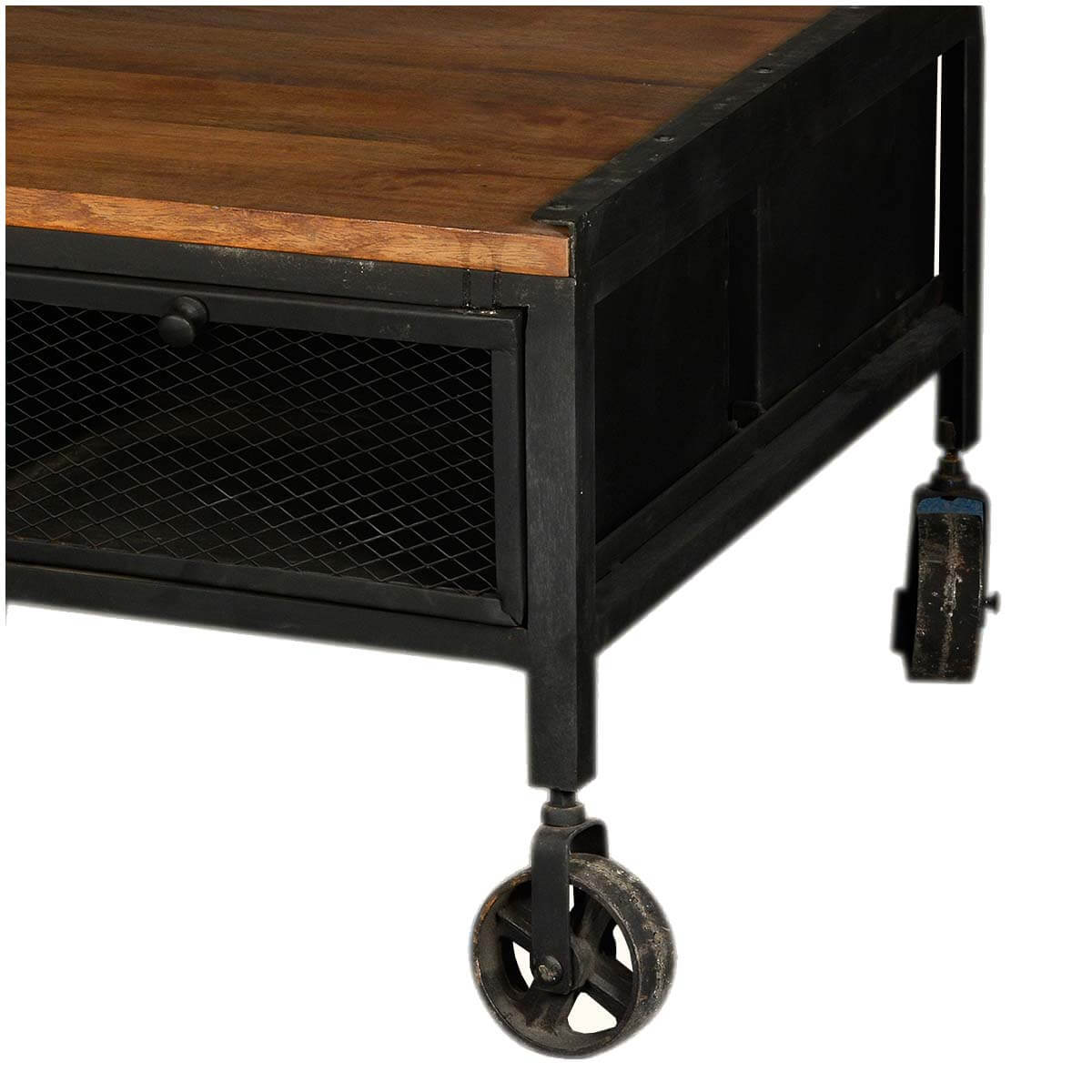 Industrial Coffee Table Rustic: Aiden Industrial Rustic Coffee Table With Drawers