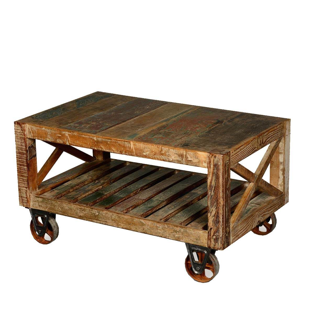 Industrial rustic reclaimed wood iron rolling double x coffee table Rustic iron coffee table