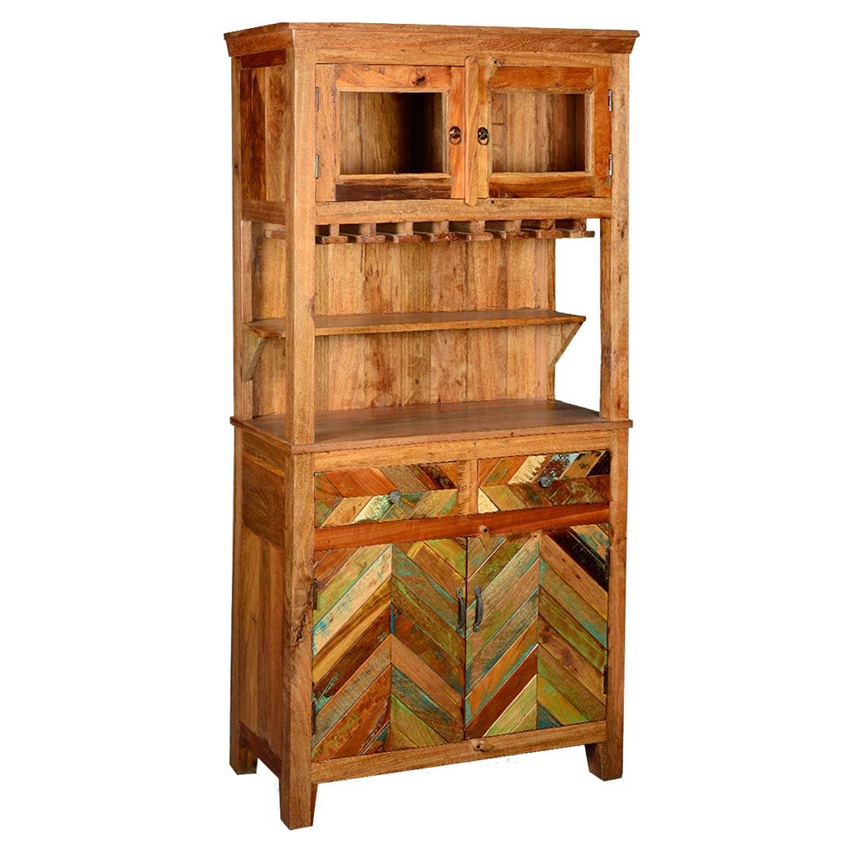 Rustic Kitchen Hutch: Rustic Reclaimed Wood Wine Bar Hutch Sideboard With Glass