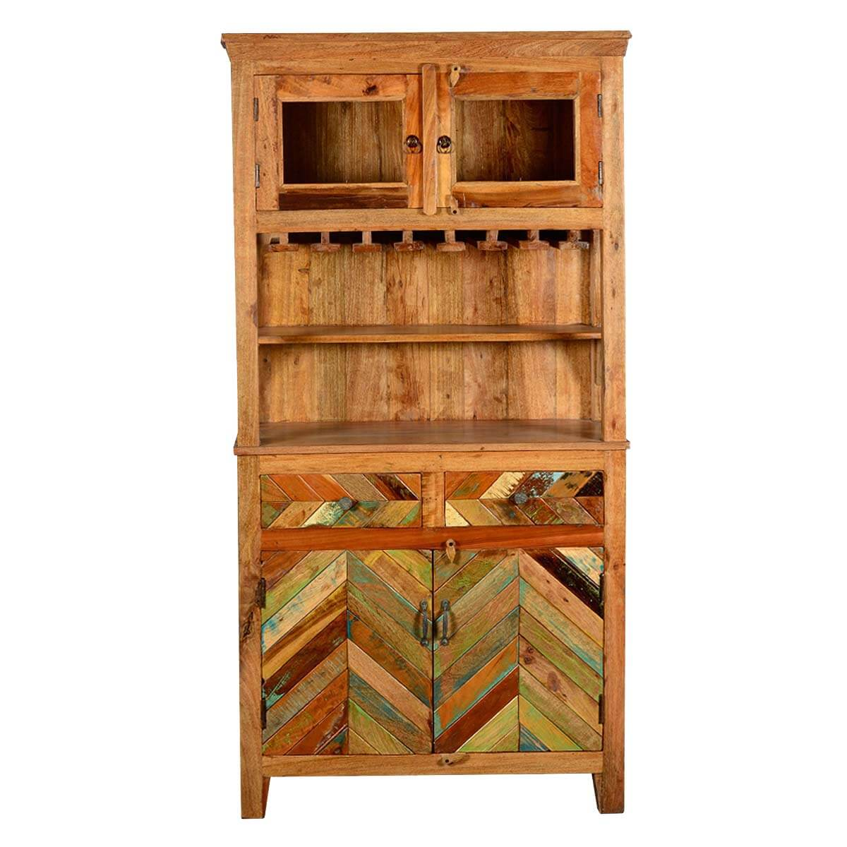 Rustic reclaimed wood wine bar hutch sideboard with glass for Sideboard hoch