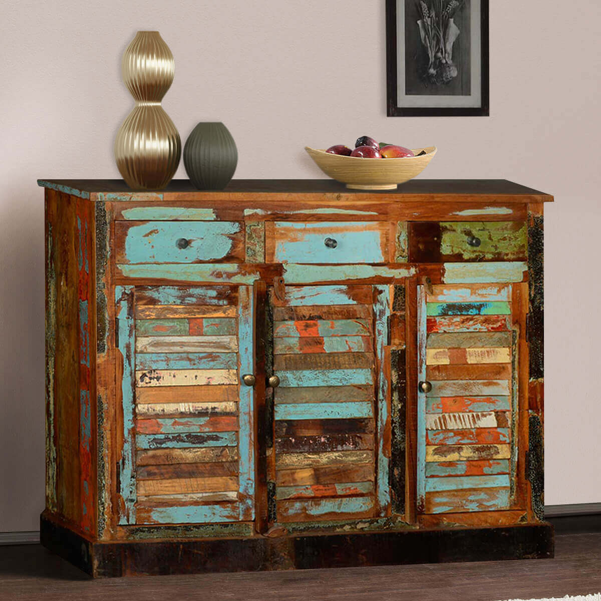 Dravin reclaimed wood drawer door sideboard buffet cabinet