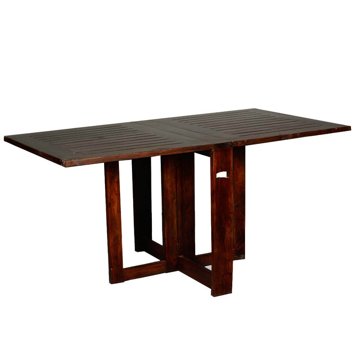 Incredible solid wood 4 square pedestal folding dining for Dinner table wood