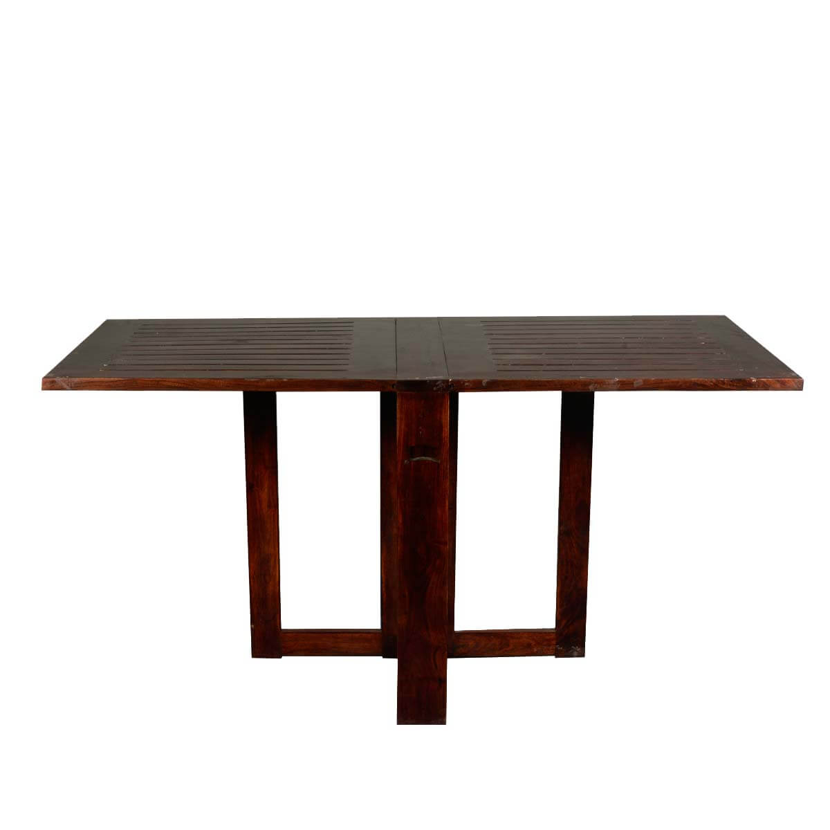 Incredible solid wood 4 square pedestal folding dining for Folding dining room table