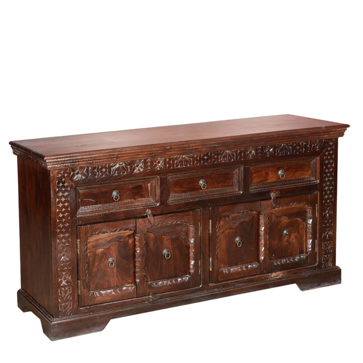 Empire Rustic Solid Wood 4 Door 3 Drawer Sideboard