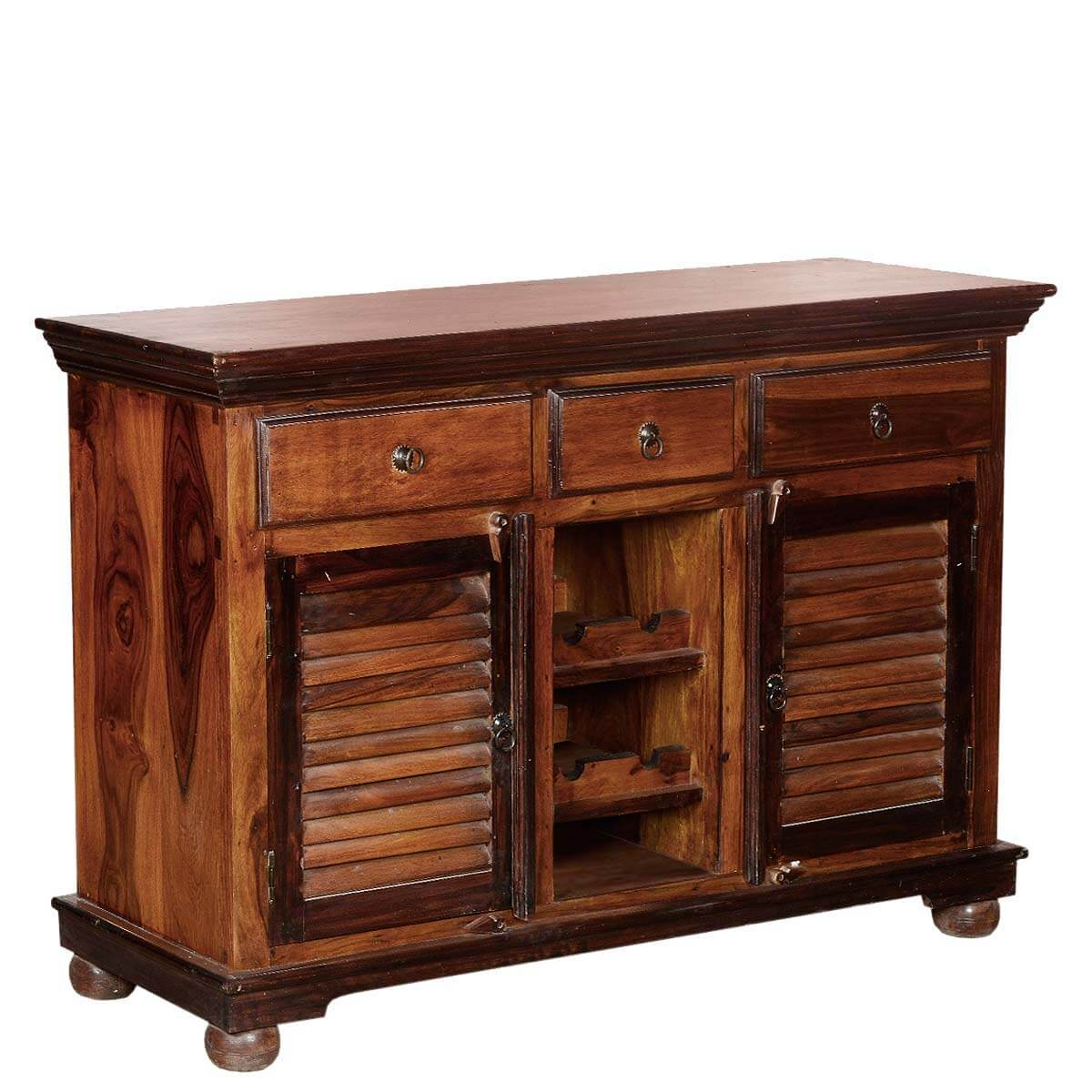 shaker buffet wine rack solid wood 3 drawer sideboard. Black Bedroom Furniture Sets. Home Design Ideas