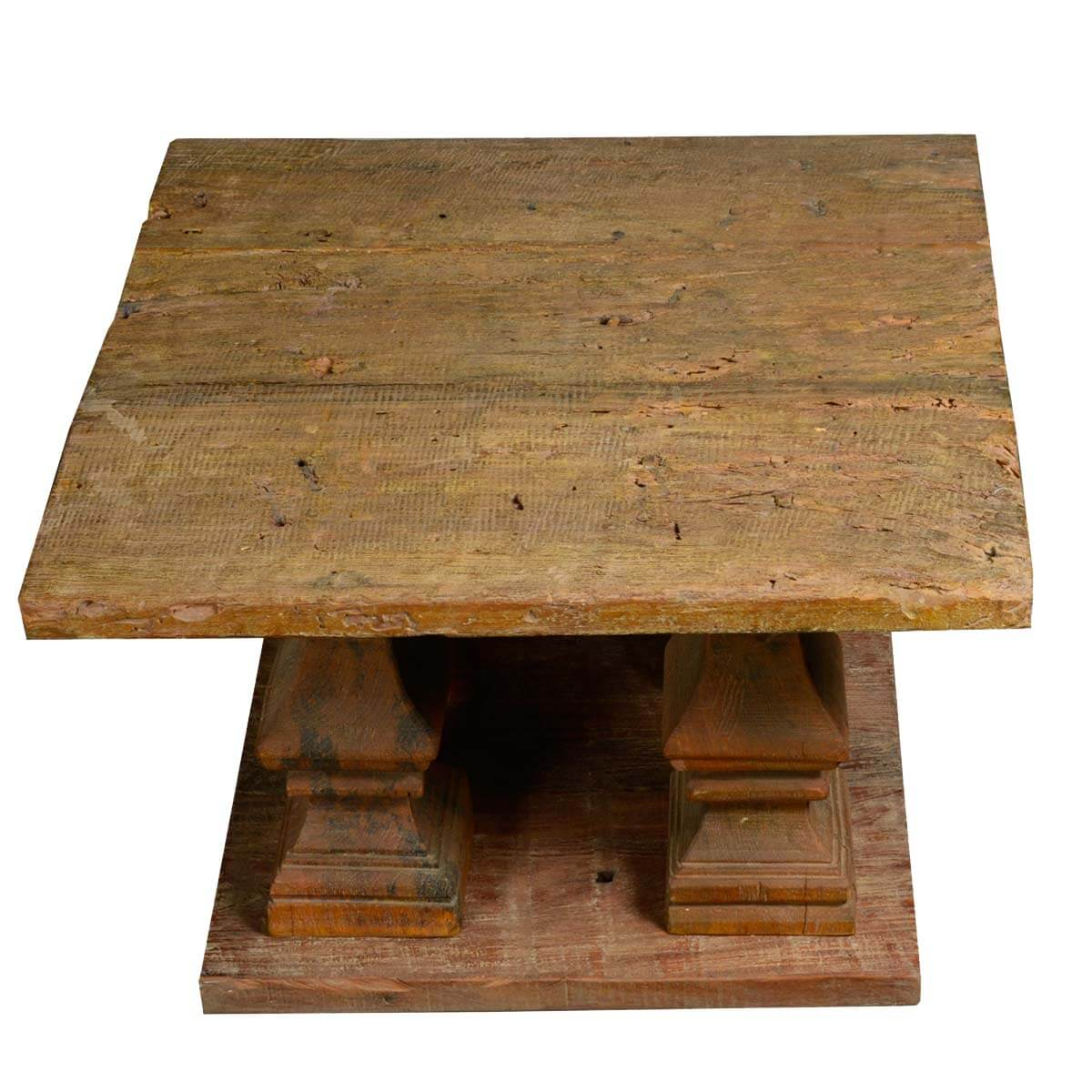 Ancient Columns Pedestal Square Coffee Table Reclaimed Wood Furniture