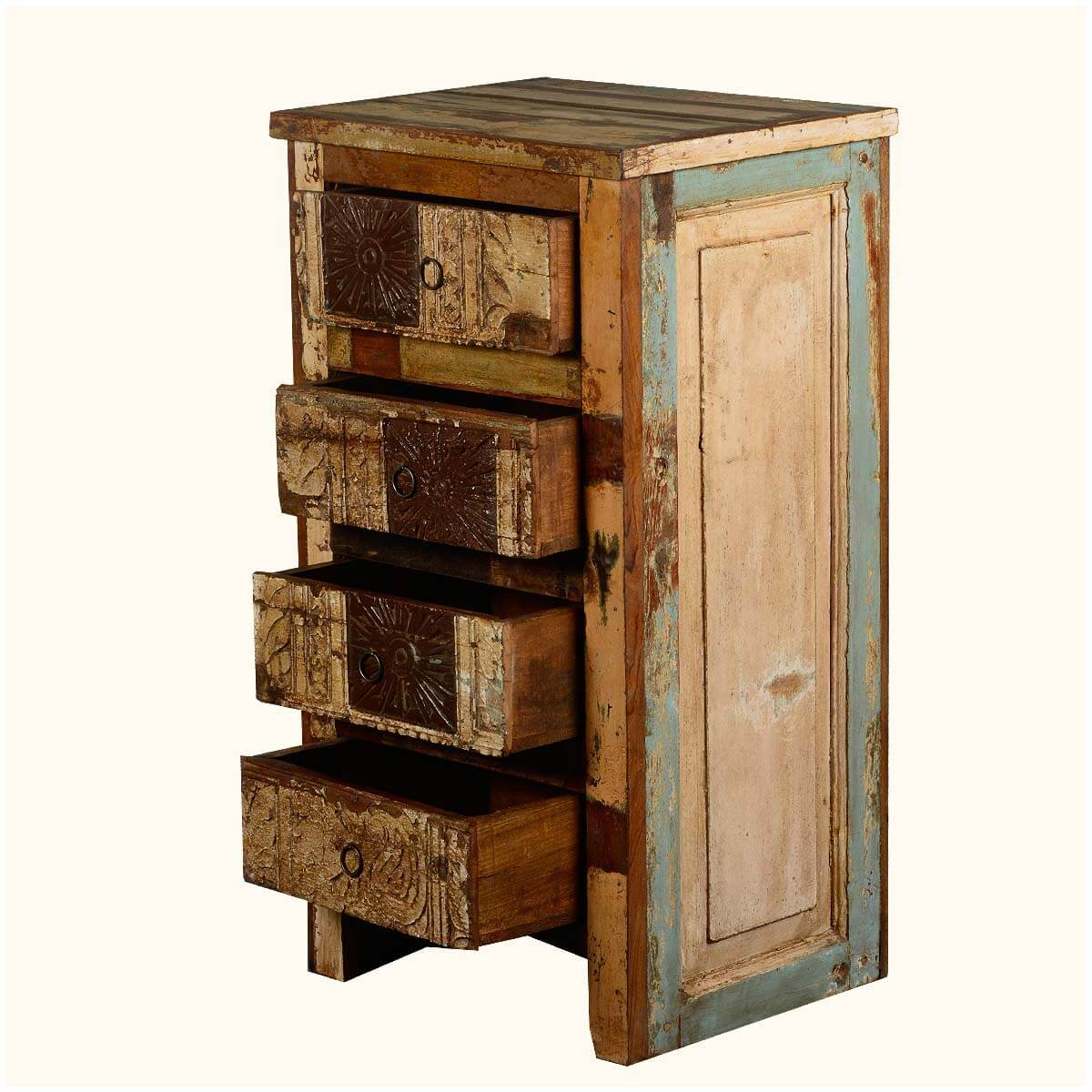 Wooden Patch Quilt Night Stand End Table Reclaimed Wood