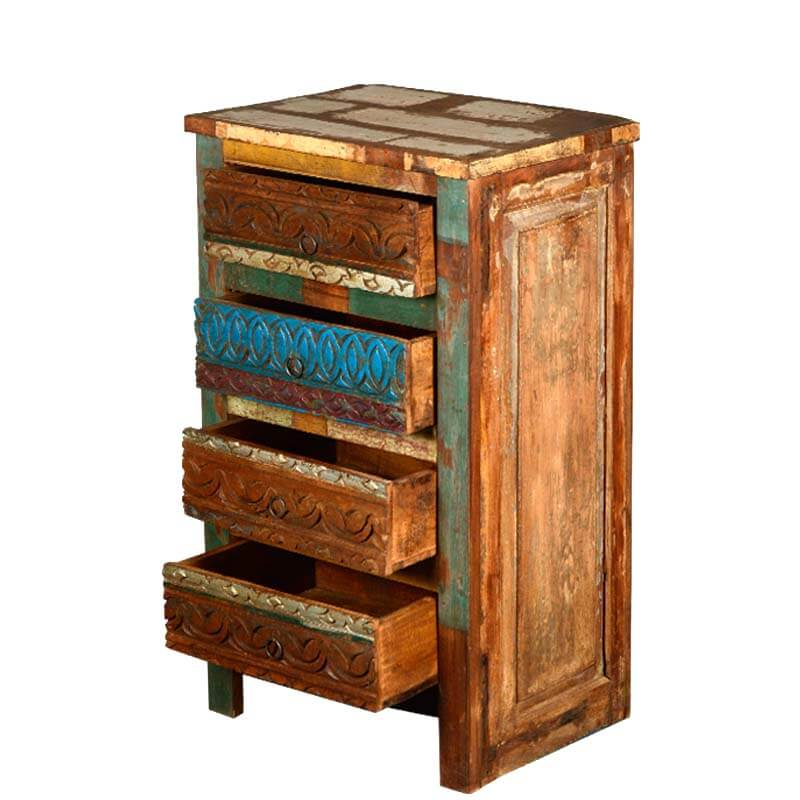 Multi striped night stand end table reclaimed wood furniture for Multi night stand