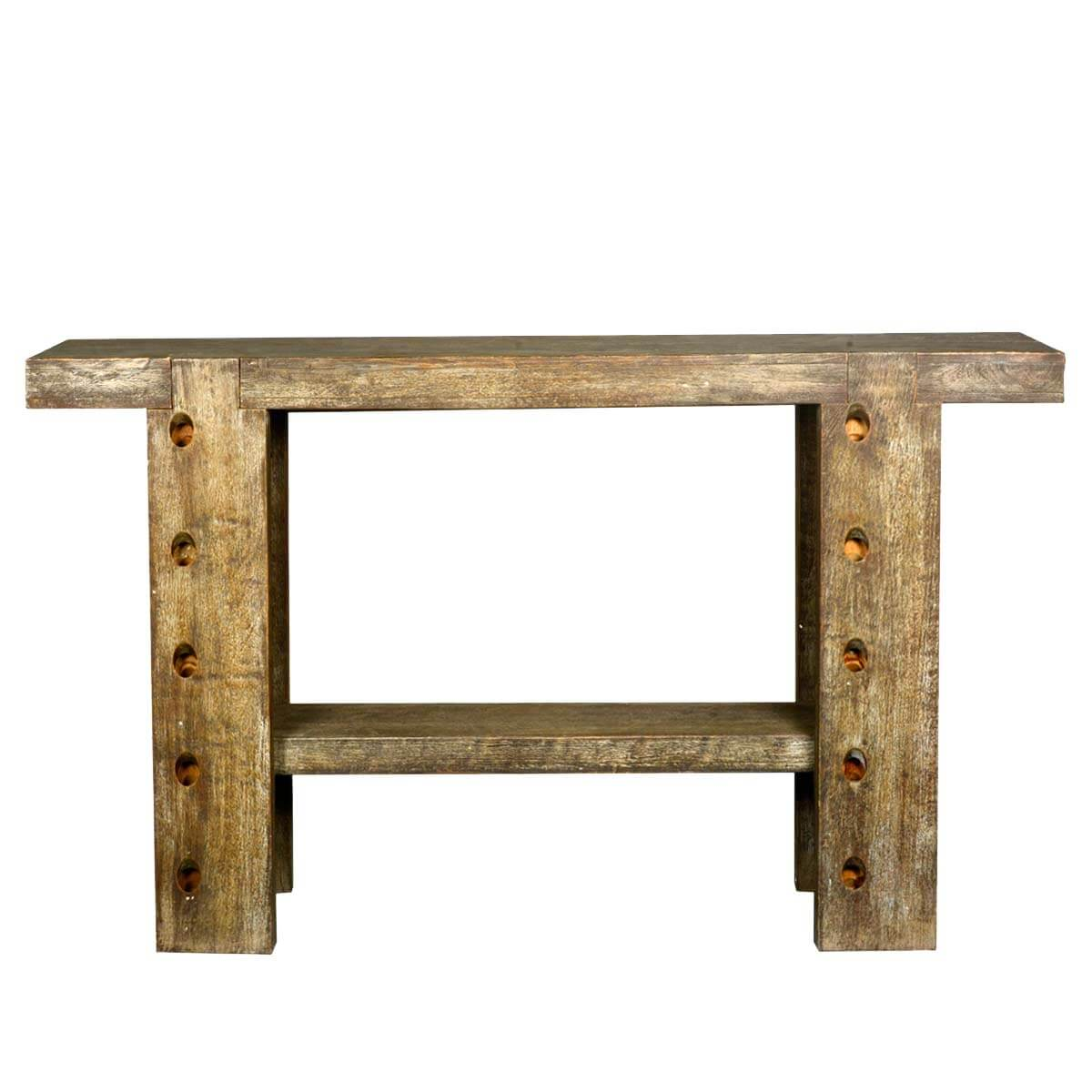 Rustic 10 Holes Reclaimed Wood Sofa Table Hall Console