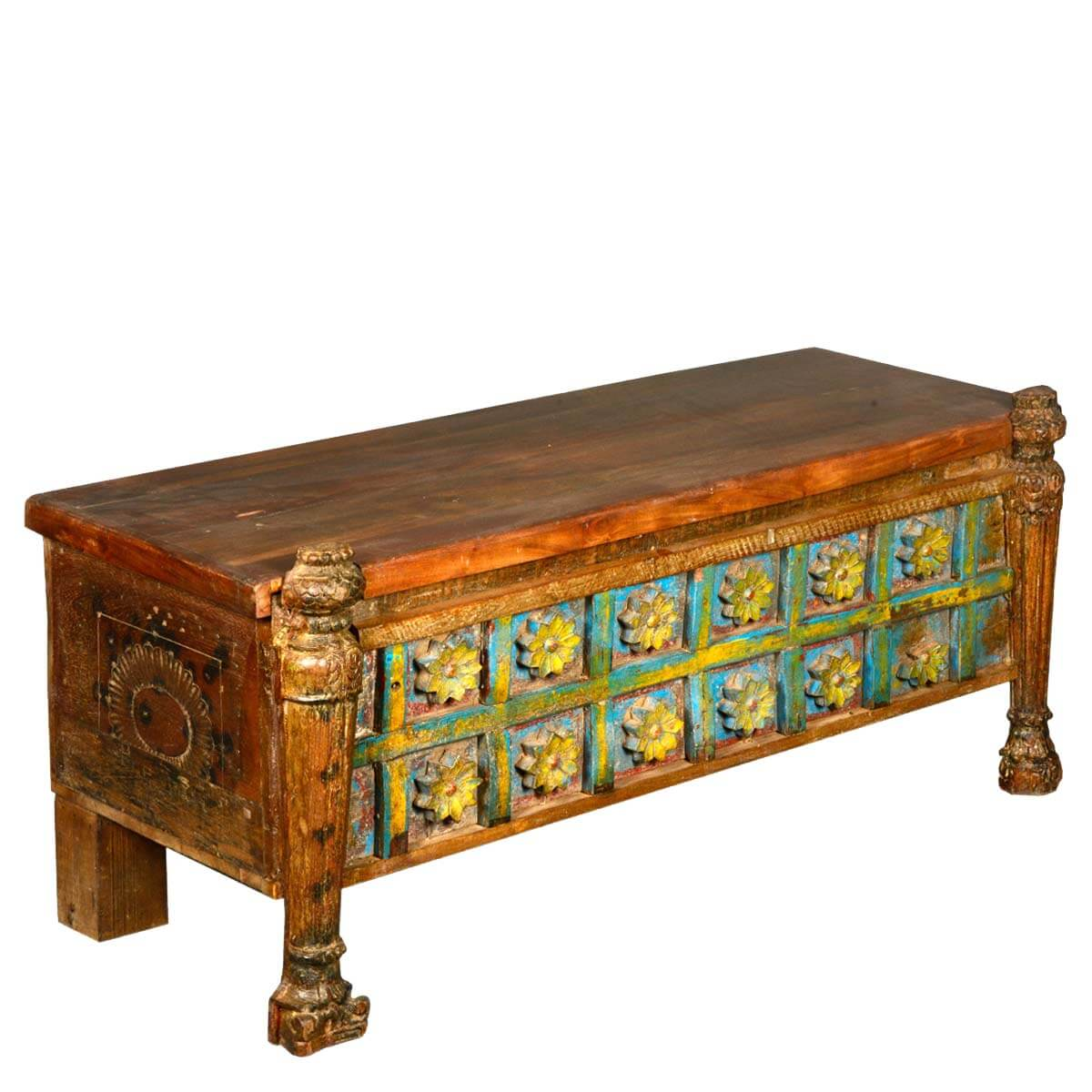 Reclaimed Wood Hand Painted French Gothic Carved Hope Blanket Chest. Full resolution‎  snapshot, nominally Width 1200 Height 1200 pixels, snapshot with #B39618.