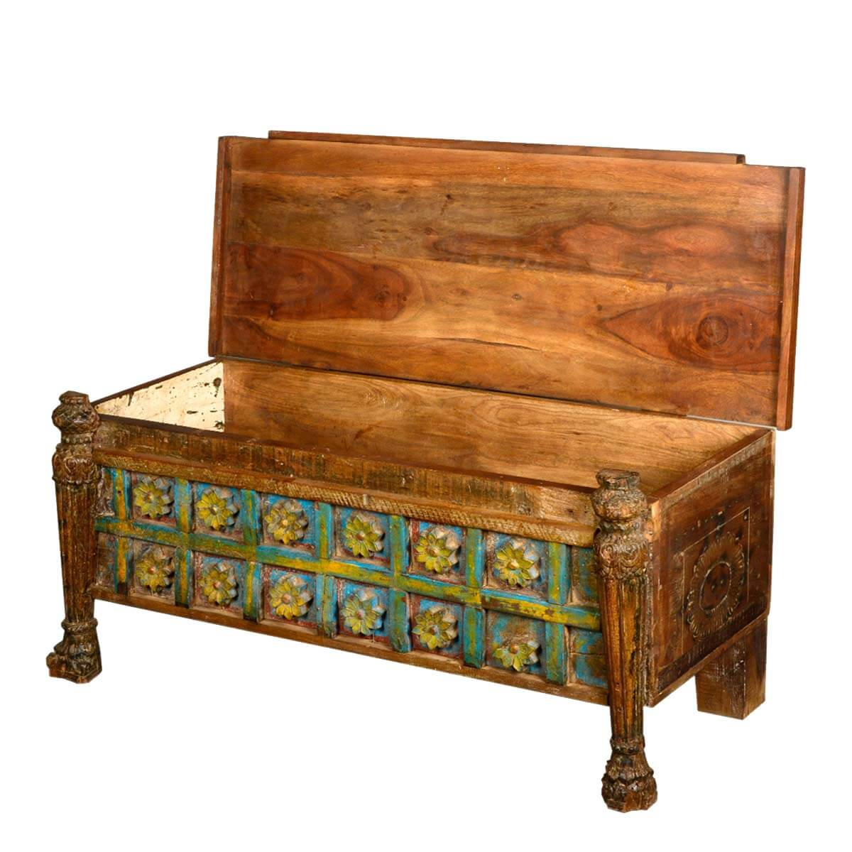 Reclaimed wood hand painted french gothic carved hope for Hand painted chests
