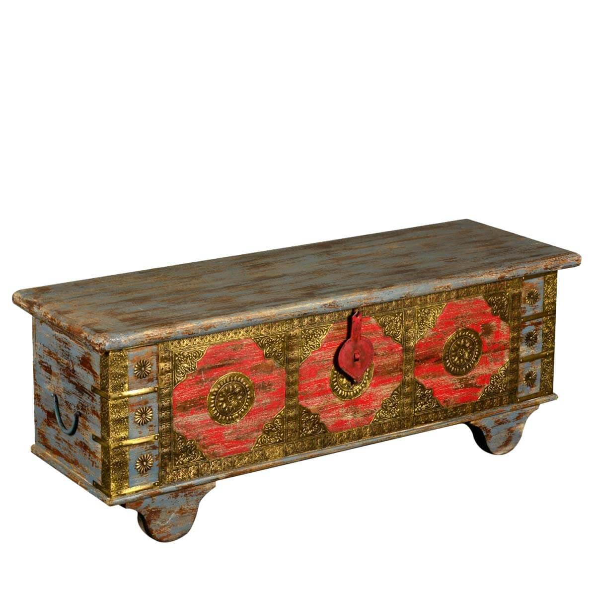 capella reclaimed wood brass trunk coffee table chest With brass trunk coffee table