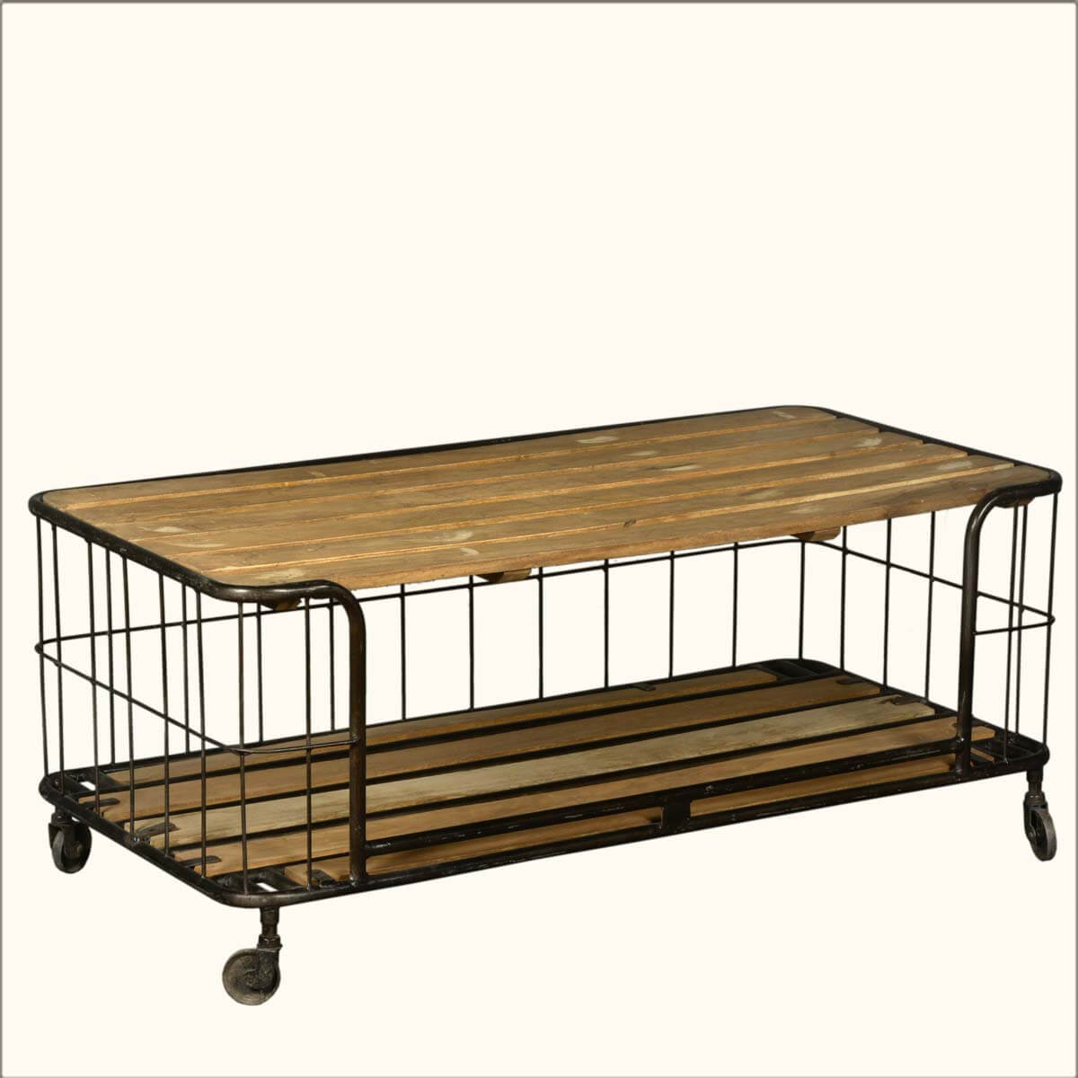 wire basket reclaimed wood iron rolling coffee table cart. Black Bedroom Furniture Sets. Home Design Ideas