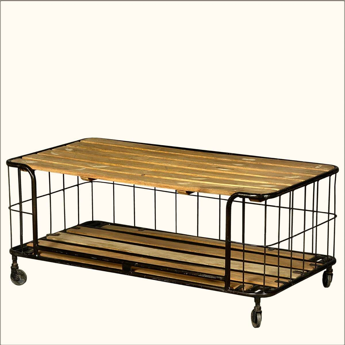 Wire Basket Reclaimed Wood Iron Rolling Coffee Table Cart