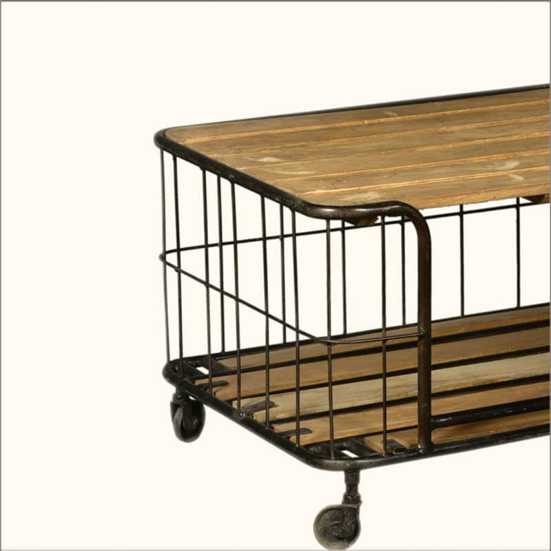 Coffee Table With Baskets: Wire Basket Reclaimed Wood & Iron Rolling Coffee Table Cart