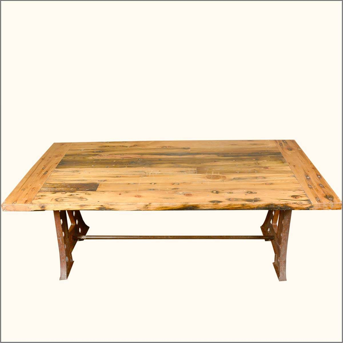 Reclaimed Wood Industrial Factory Iron Trestle Pedestal Dining Table