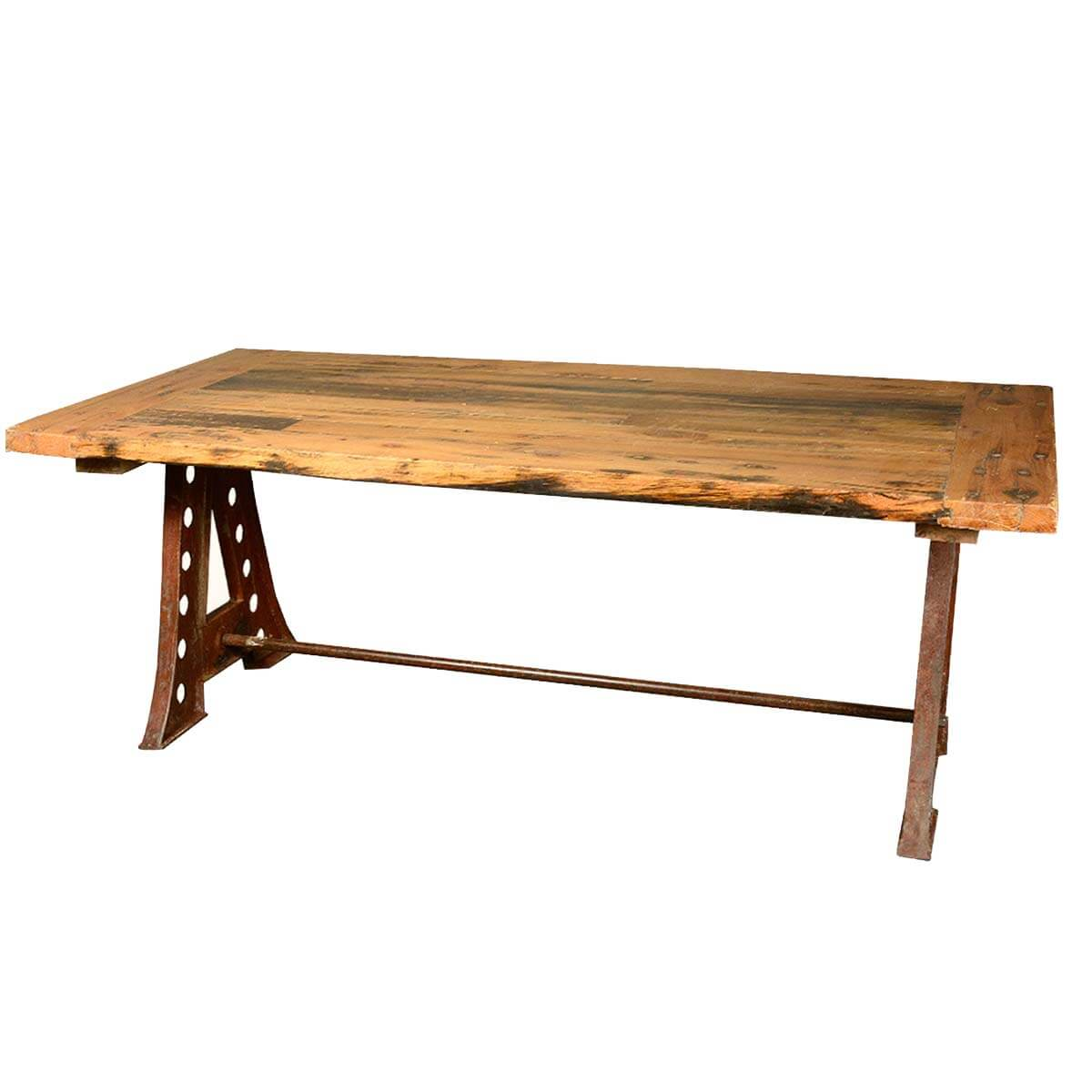 Reclaimed wood industrial factory iron trestle pedestal for Reclaimed dining room table