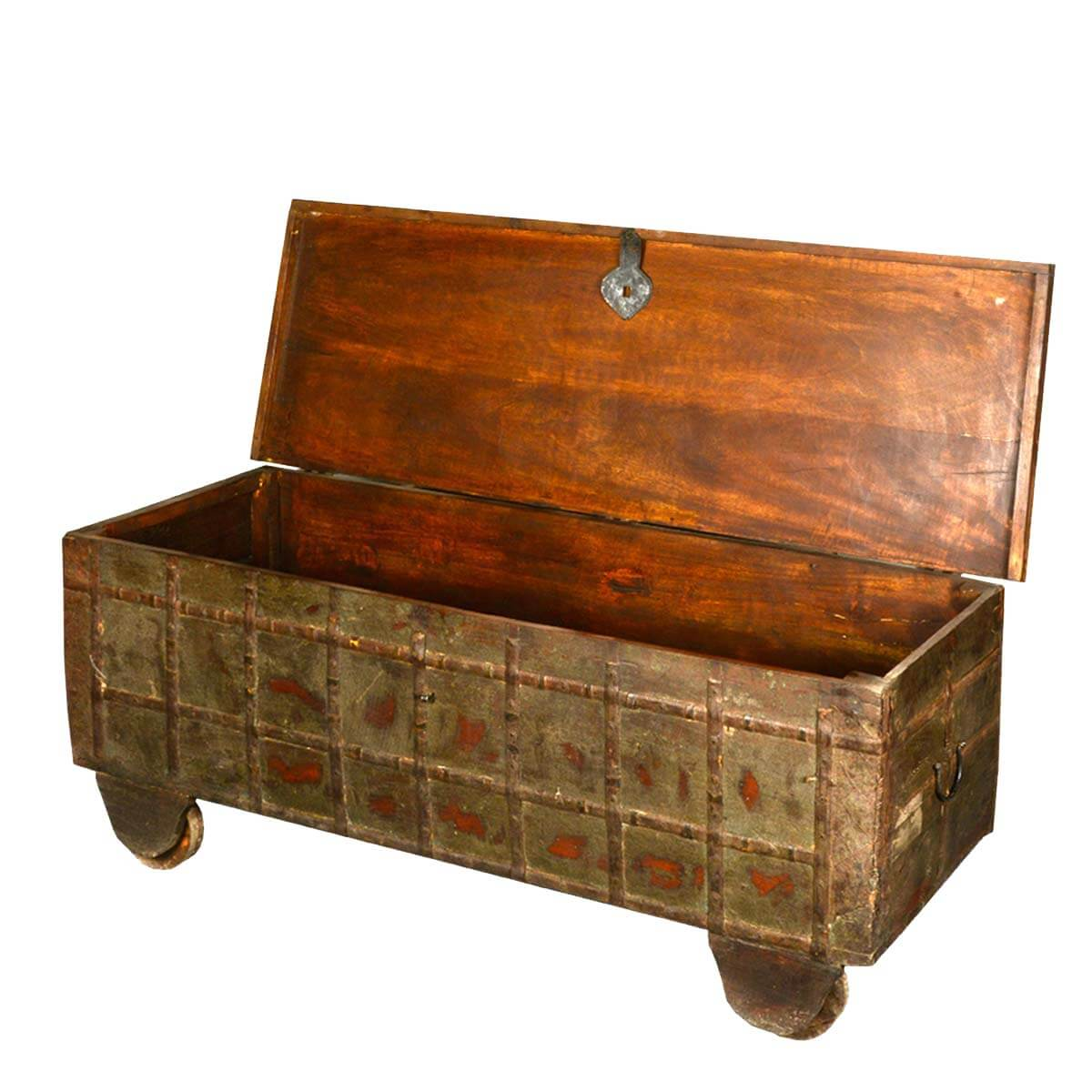 Wonderful image of  Distressed Reclaimed Wood Treasures Rolling Blanket Storage Chest with #B0500D color and 1200x1200 pixels