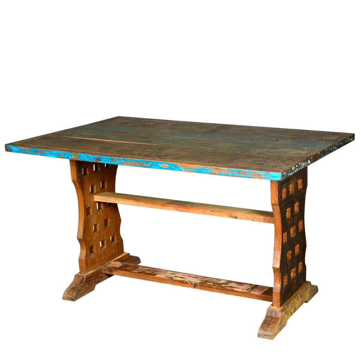 Pelham reclaimed wood rustic waffle sided trestle base for 3 sided dining room table