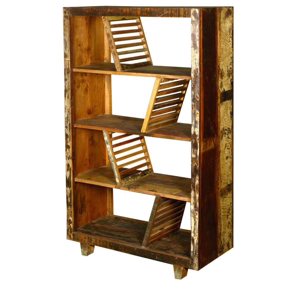 Reclaimed Wood Bookcase ~ Rustic washboards reclaimed wood shelf open back bookcase