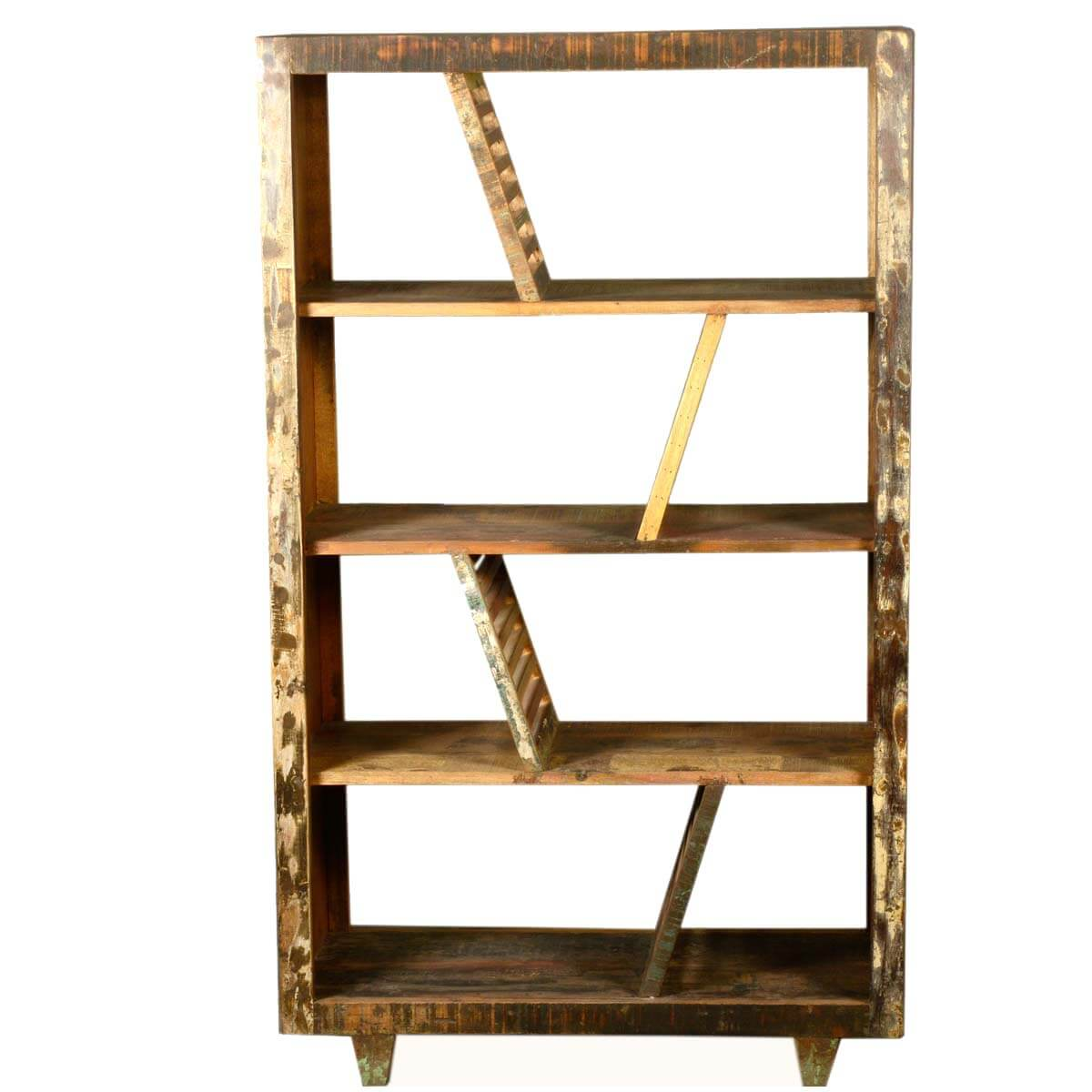 Shelves Wood Backing: Rustic Washboards Reclaimed Wood 4-Shelf Open Back Bookcase