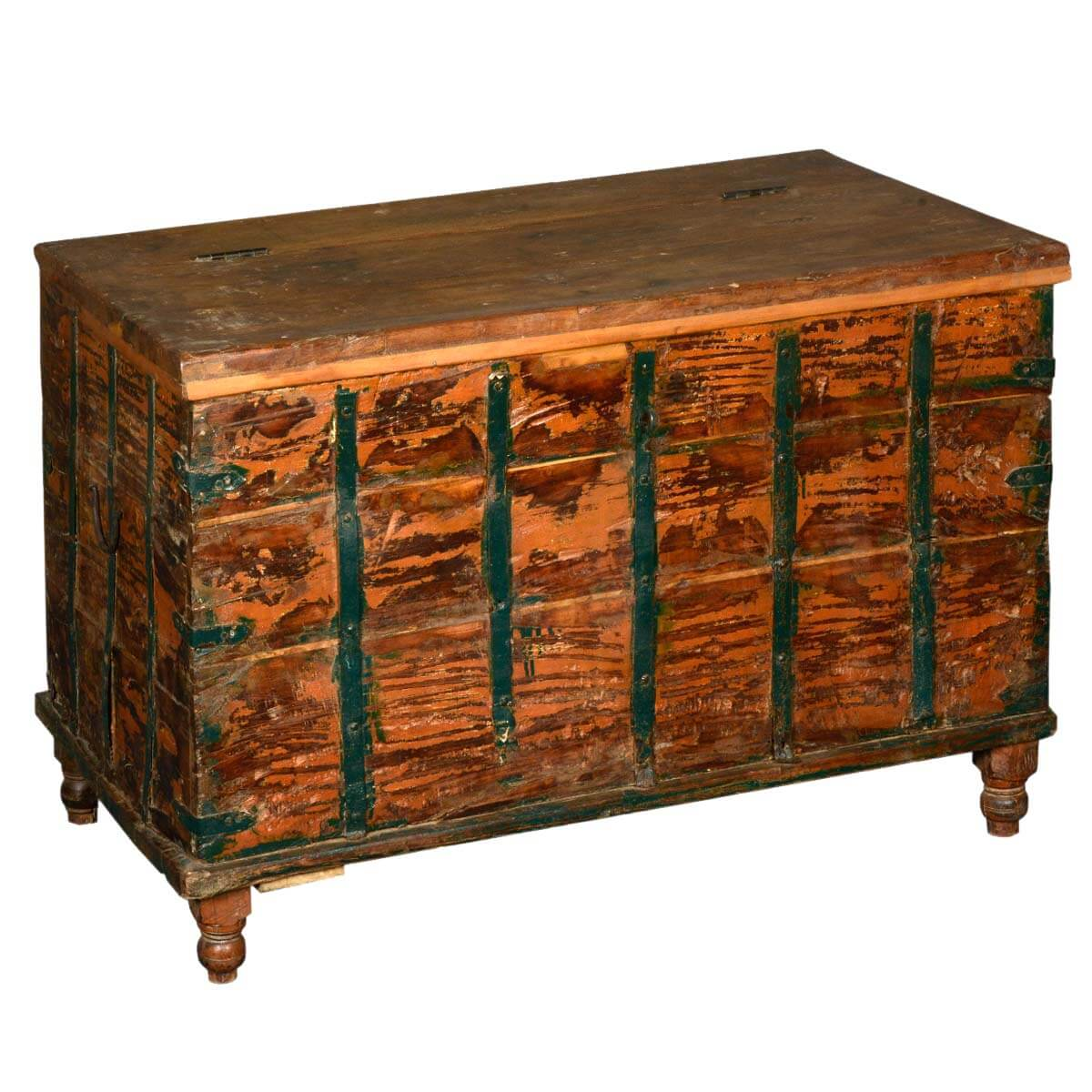 Reclaimed Wood Large Kokanee Blanket Storage Iron Chest Furniture