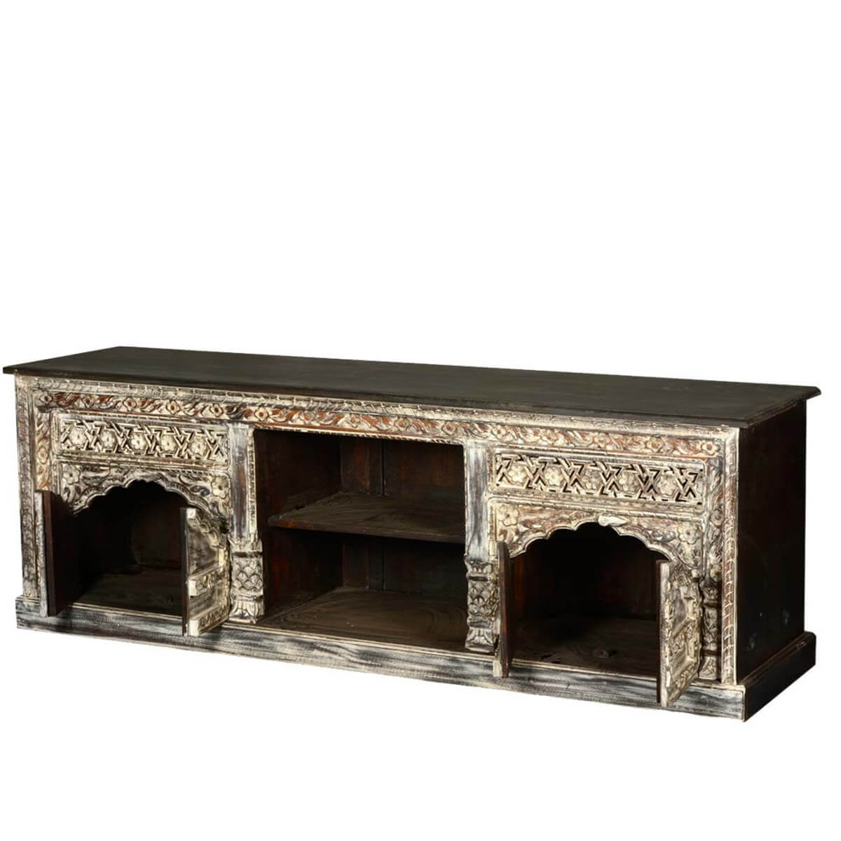 Reclaimed wood midnight snow castle tv stand media console for Barnwood media cabinet