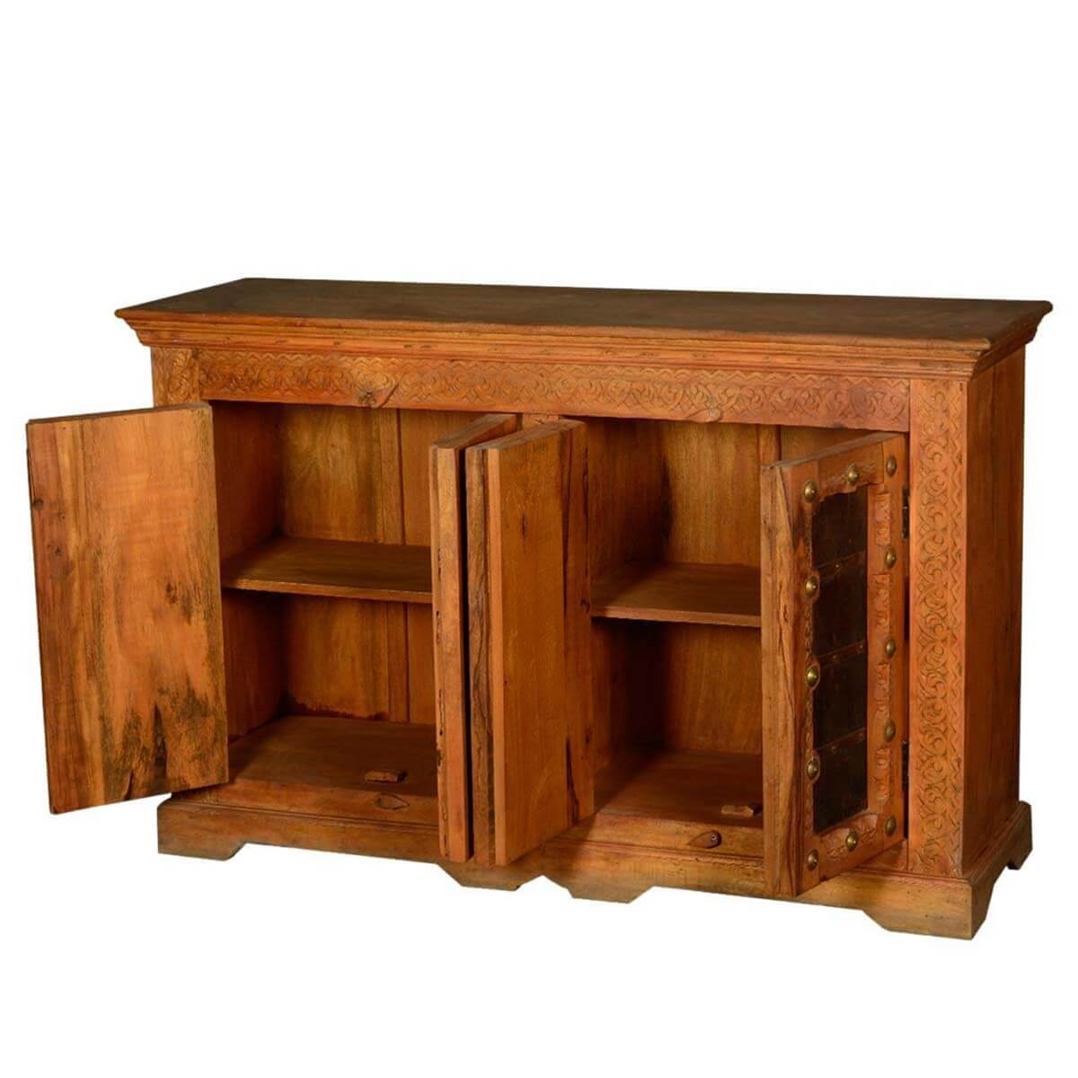Springfield rustic reclaimed wood handcrafted door buffet