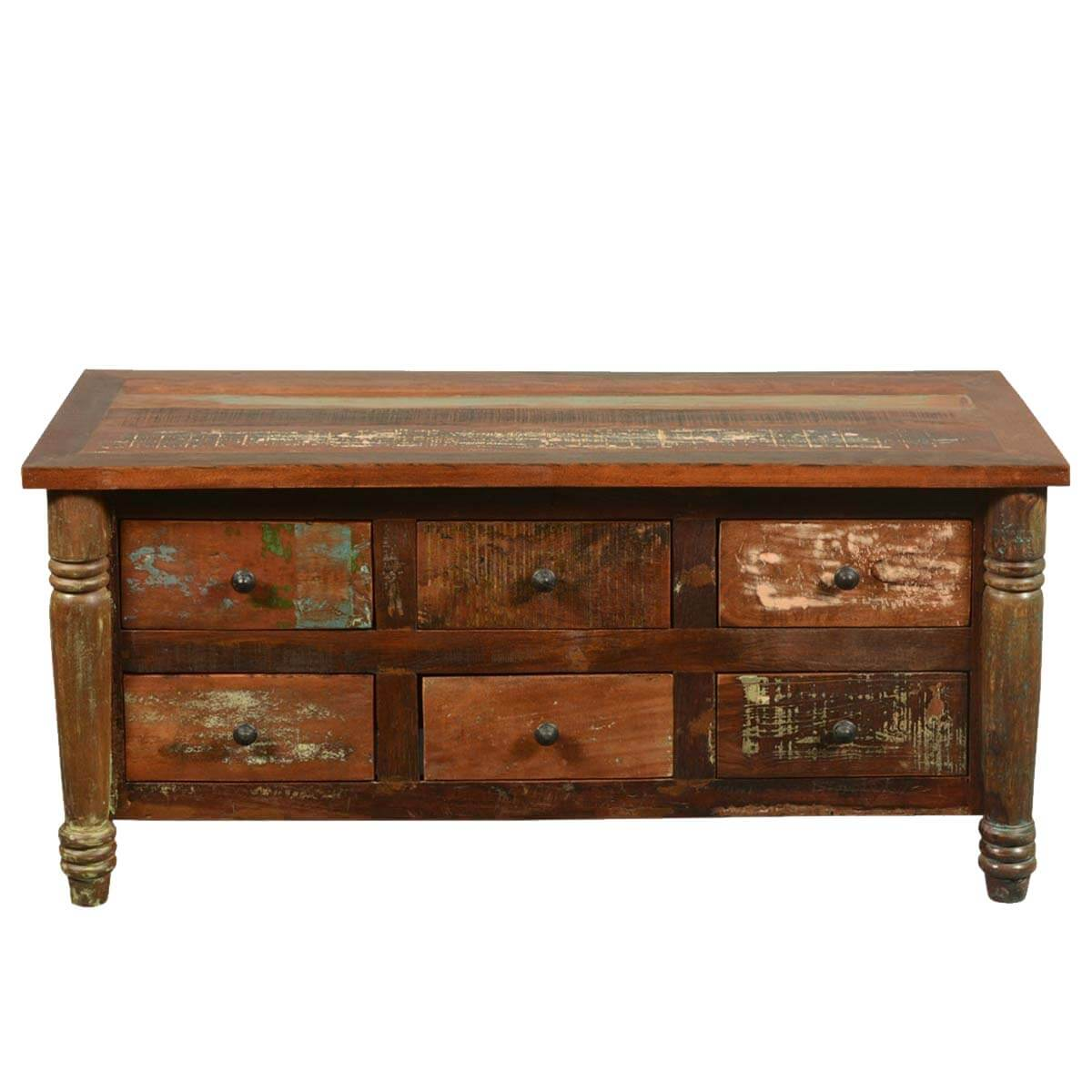Appalachian rustic reclaimed wood coffee table chest of