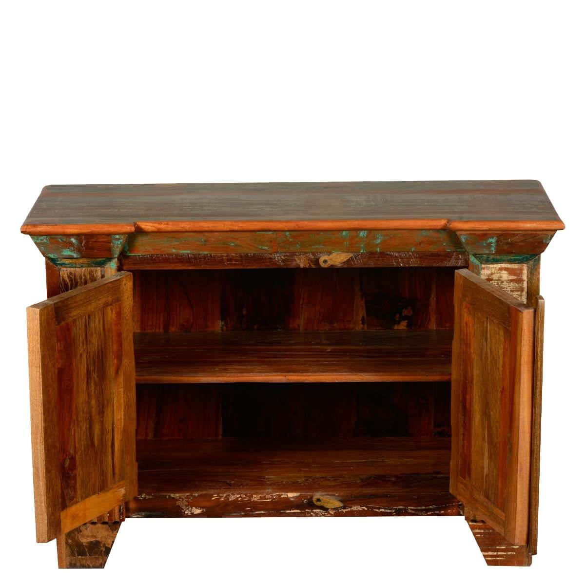 Reclaimed wood retro style distressed quot small tv stand