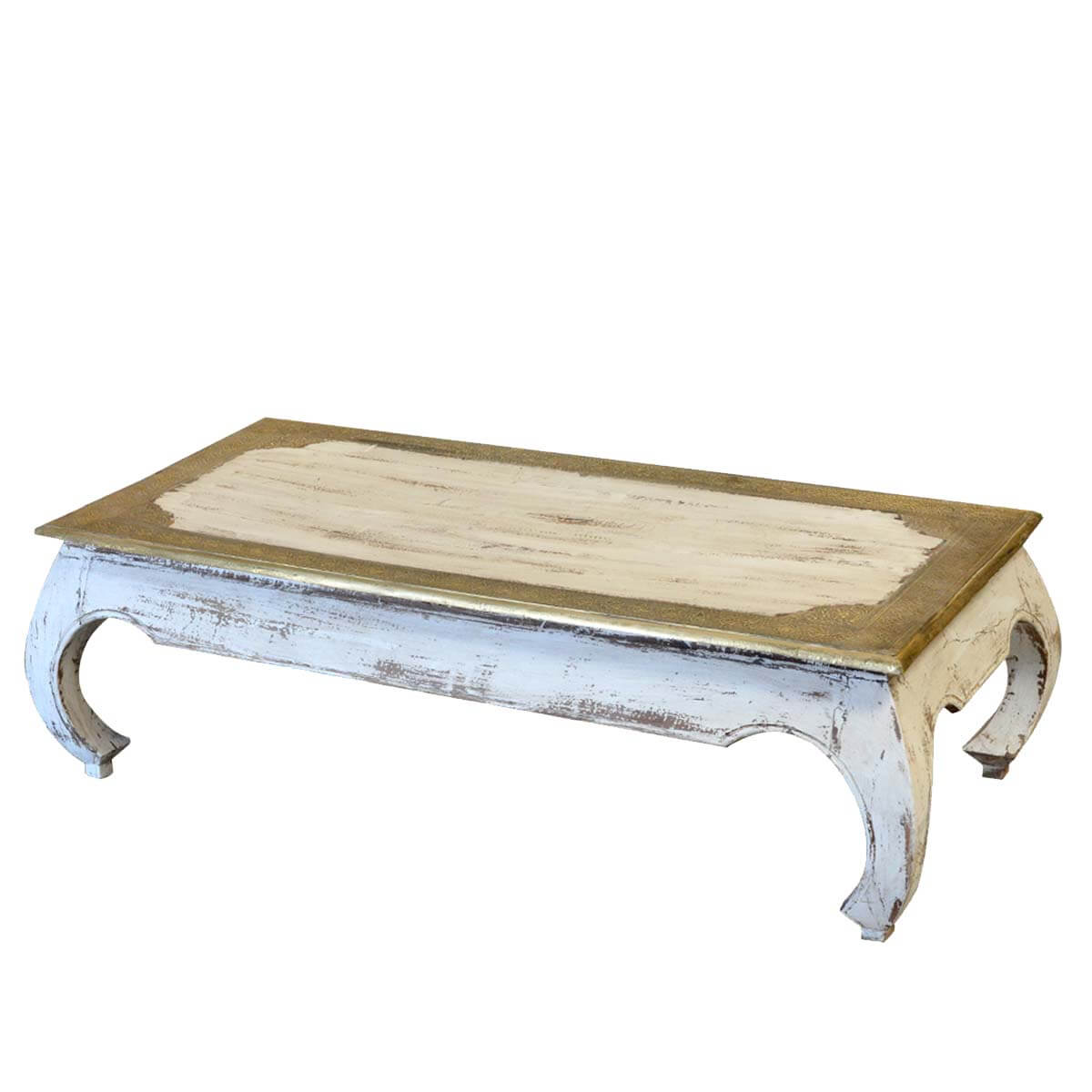Distressed Reclaimed Wood Brass Inlay Opium Coffee Table