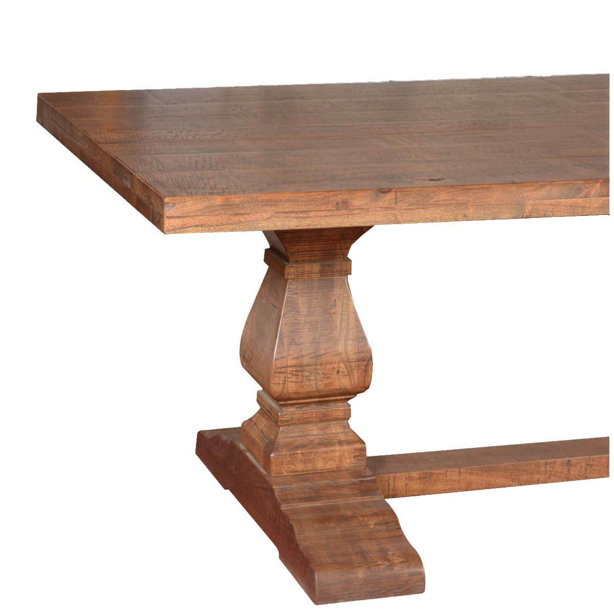 Dining Tables Rustic: Trestle Pedestal Traditional Eco-Friendly Wood Rustic Dining Table